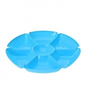 Kunststof serveerschaal blauw 7 vakken