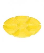 Kunststof serveerschaal geel 7 vakken