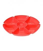 Kunststof serveerschaal rood 7 vakken