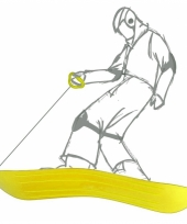 Kunststof slee geel 69 x 20 x 4 cm