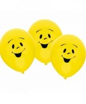 Lachende emoticon ballon 6 stuks