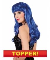 Lange blauwe dames pruik 10049647