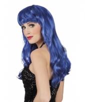 Lange blauwe dames pruik