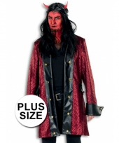Lange verkleed jas duivel grote maat