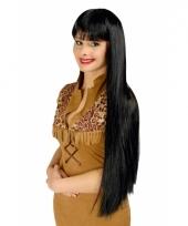 Lange zwarte indianen pruik