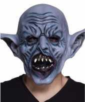 Latex blauw orc monster hoofdmasker
