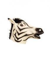 Latex dieren masker van een zebra