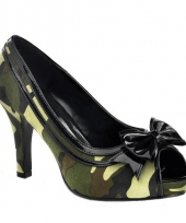 Legerprint pumps met open teen