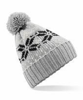 Lekker warme grijze muts snowstar