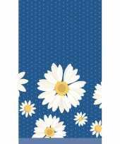 Lente voorjaar bloemenprint tafelkleed tafellaken witte margrietjes 120 x 180 cm van papier