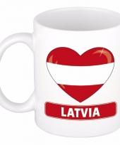 Letlandse vlag hart mok beker 300 ml