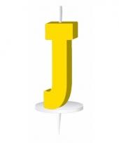 Letter kaarsen geel j
