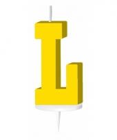 Letter kaarsen geel l