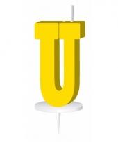 Letter kaarsen geel u