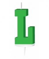 Letter kaarsen groen l