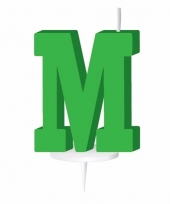 Letter kaarsen groen m
