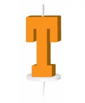 Letter kaarsen oranje t