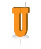 Letter kaarsen oranje u