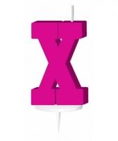 Letter kaarsen roze x