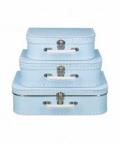 Licht blauw koffertje met witte stipjes 30 cm 10090177