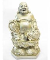 Licht gouden boeddha beeld van polyresin