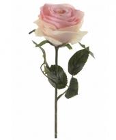 Licht roze roos kunstbloem 45 cm
