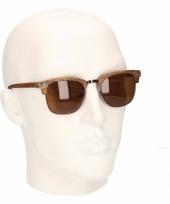 Lichtbruine houtlook heren zonnebrillen