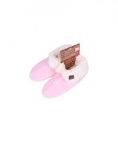 Lichtroze dames pantoffels met bontvoering
