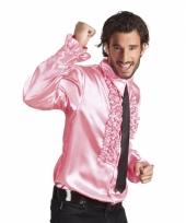 Lichtroze disco blouse voor heren
