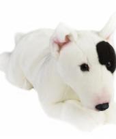 Liggende hond knuffel zwart witte bull terrier 36 cm