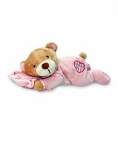 Liggende roze beer 15 cm