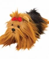 Liggende yorkshire terrier knuffel 33 cm