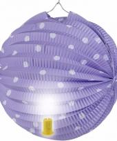 Lila feest lampion met witte stippen 20 cm