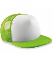 Lime witte vintage baseball cap voor kinderen