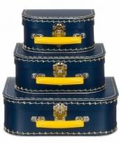 Logeerkoffer navy geelvoor kinderen 16 cm