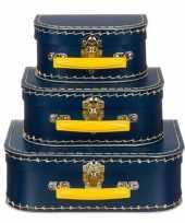 Logeerkoffer navy geelvoor kinderen 25 cm