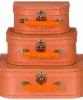Logeerkoffer pastel oranje voor kinderen 16 cm