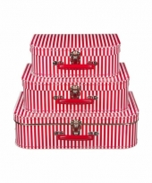 Logeerkoffer rood met strepen voor jongens 25 cm 10090148