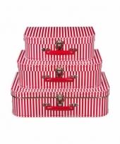 Logeerkoffer rood met strepen voor jongens 35 cm 10090146