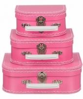 Logeerkoffer roze voor kinderen 16 cm