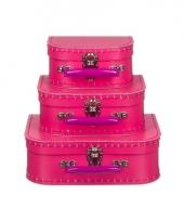 Logeerkoffer roze voor meisjes 25 cm