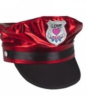 Love police petje rood voor volwassenen