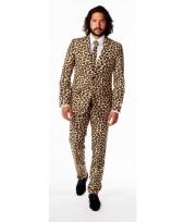 Luxe bruin pak met luipaard print