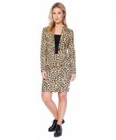 Luxe colbert en rok met luipaard print