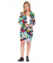 Luxe colbert en rok met testbeeld print