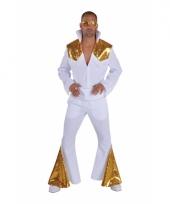 Luxe elvis kostuum wit met goud