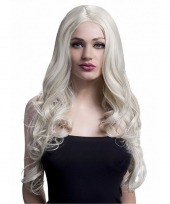 Luxe krullen pruik blond