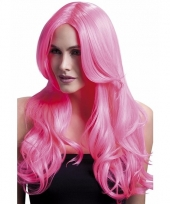Luxe krullen pruik neon roze lange pony
