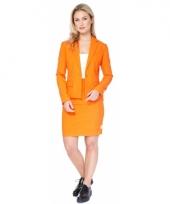 Luxe oranje colbert en rok