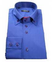 Luxe overhemd blauw giovanni capraro 10047464